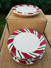 Longaberger Peppermint Twist Coasters Set of 4 Pottery Nib
