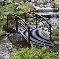 Outdoor Garden Bridge Metal 8ft Backyard Decor Walkway Black Pond Arch Yard New