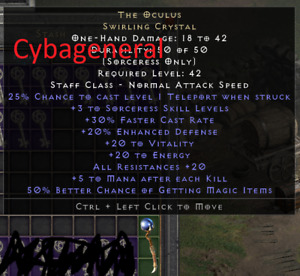 Diablo 2: Resurrected The Oculus Swirling Crystal OCCY MF Softcore D2R PC US EU