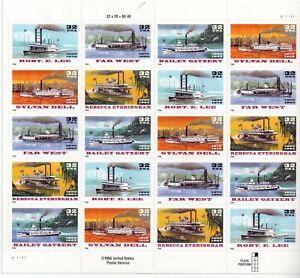 SCOTT #3091-95  RIVERBOATS  32 CENT           SHEET MNH
