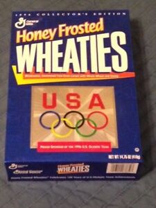 1996 HONEY FROSTED WHEATIES US OLYMPICS CEREAL BOX EMPTY BOTTOM SEALED 14.75OZ