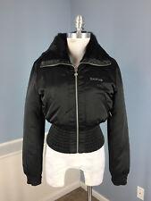 BEBE Black Genuine Rabbit Fur Lining Collar M Bomber Coat Jacket Zip EUC