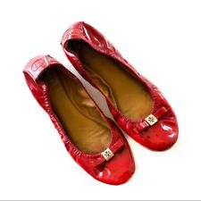 Tory Burch Size 8.5 Red Patent Leather Gold Hardware Bow Eddie Flats