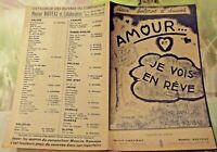 Ancienne Partition 2 Boléros Amour ... et je vois en rêve 1920