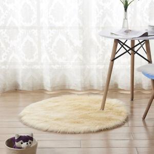 Round 50/60/90/120CM Fluffy Rug Anti-Skid Area Home Room Bedroom Carpet Rugs Mat