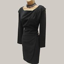 Exquisite Karen Millen Thick Jersey Black Office Work Cocktail Pencil Dress 10UK