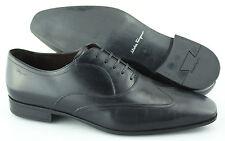 Men's SALVATORE FERRAGAMO 'Nove' Black Leather Wingtip Oxfords Size US 11 - 2E
