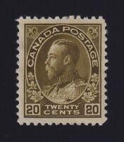 Canada Sc #119c (1912) 20c dark olive green Admiral Mint VF H