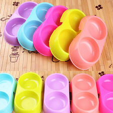 Pets Dog Puppy Cat Pet Food Water Dish Feeder Feeding Double Twin Plastic Bowl