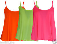 Womens Ladies & Girls Plus Size Neon Strappy Cami Swing Vest Tank Top T Shirt