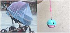 "Baby Mosquito Insect Net For Stroller, Blue Soft and Clean 59""x47""+Jingle Bell"