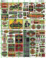 N011 DAVE'S DECALS N SCALE ADVERTISING SET AMERICAN MOTORCYCLE BAR BIKER BAR