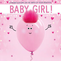 GOGGLIES+ REAL FLUFF 3D EYES  BIRTH OF YOUR BEAUTIFUL BABY GIRL CARD 1STPP