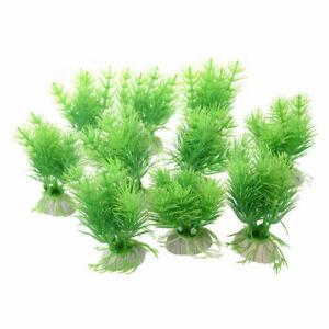 X3 Aquarium Fish Tank Plants Decorative Plastic Green Non-Toxic Green UK Stock