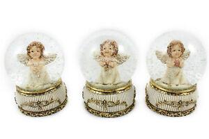 3X Schneekugel -Engel- auf goldenem Sockel mit Rosen H.: 9cm Ø65mm