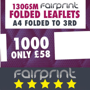 1000  Folded Leaflet and Menus / A4 to DL / 130gsm Gloss
