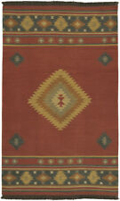 Surya Hand Made Wool Southwestern 5x8 Red Area Rug - Approx 5' x 8'
