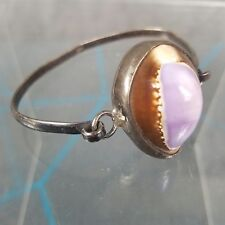 Cowrie Sea Shell & Sterling Silver Bracelet Vintage 925  Purple Brown Hallmarked