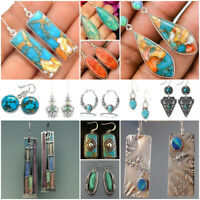 Vintage 925 Silver Turquoise Earrings Ear Hook Women Wedding Dangle Drop Jewelry