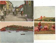 c1910 China postcard group - Peking, Chefoo Harbor, Chefoo street scene
