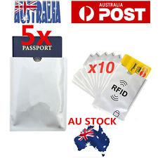 5x Passport & 10x RFID Blocking ID Credit Card Protector Sleeve Shield Holder OZ