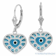 Heart Charm Sterling Silver Kabbalah Earrings Evil Eye Bead Greek Turkish Nazar