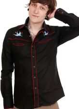 Mens rockabilly western shirt Swallows goth Tattoo slim fit Xsmall 36 chest