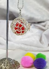 Silver Round Perfume / Essential Oil  Pendant with Pompons and Chain