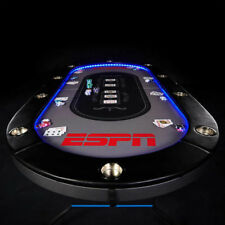 ESPN Poker Table 10 Player In-Laid LED Lights Cup Holder Cushion Top Folding Leg