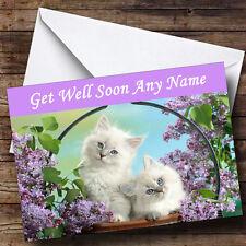 White Kittens Personalised Get Well Soon Greetings Card