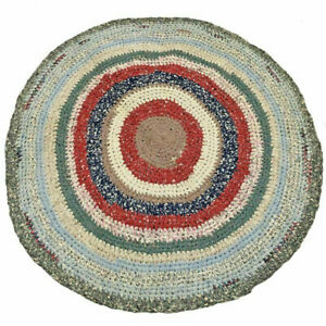 Vintage Farmhouse Handmade Cotton Crochet Rag Rug Multicolor Home Cottage Decor