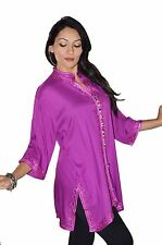 Moroccan Tunic Caftan Shirt Cotton Blouse Swim Suit Cover-up Purple LG to XLG