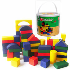 Childrens 50pc Wooden Building Blocks Construction Toy Bricks Set With Tub
