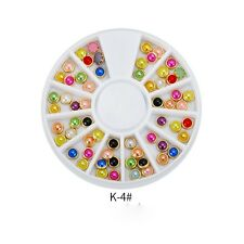 3D Nail Art Decoration Gold Metal Pearl Rhinestones Bead Gems Studs CANDY MIX