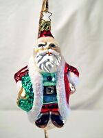Old World Christmas Santa carrying wreath glass ornament silvered hand painted