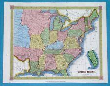 1843 ORIGINAL MAP TEXAS REPUBLIC UNITED STATES NEW YORK FLORIDA GEORGIA ILLINOIS