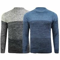 Mens 100% Cotton Twisted Cable Sweatshirts Winter Jumper Pullover Stripe M-3XL