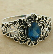 GENUINE LONDON BLUE TOPAZ 925 STERLING SILVER ANTIQUE STYLE RING SIZE 7,    #849