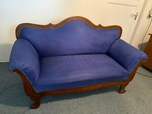 Couch Sofa Biedermeier  Antik blau