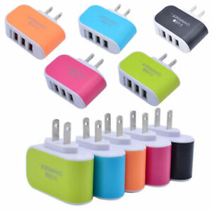 New Practical Travel Home Wall AC Charger Adapter US Plug With 3 USB Ports
