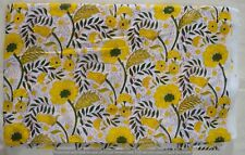 Indian Yellow Flower Print 5 Yard Dressmaking Pure Cotton Fabric Running Loose