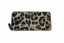 Michael Kors Fulton Leopard /Suntan Za Continental Haircalf Wallet