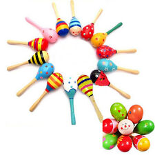 Wooden Maraca Wood Rattles Party Favor Child Baby Kids Musical Shaker Toy