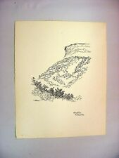 1930-40's C.Palmer Ink Drawing of Old Man's Profile, Franconia Notch, NH