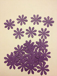 50 Cadbury's purple card flowers wedding crafts, scrapbooking, table confetti