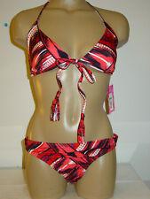Xhilaration red black print bikini 2 two piece set swimsuit tassels-M L-NWT NEW