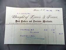 Letterhead Advertising Davis & Fraser Pork Packers Merchant Halifax NS 1907