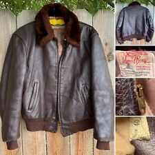 Vintage Daniel Boone Horsehide Leather Jacket Bomber Aviator CONMATIC Zipper 40
