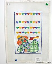 Hand-Painted Clown and Hearts Needle Point Canvas