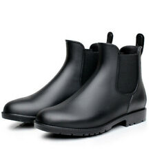 Lightweight Chelsea Rainboots Men's Black Rubber Low Ankle Boots US8